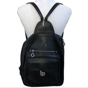 FRANKLIN COVEY BLACK LEATHER BACKPACK